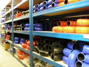 warehouse with silicone hoses on shelves